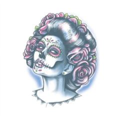 Picture of Day of The Dead - Senora Muerte-Temporary Tattoo