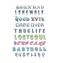 Picture of Knuckles Phrases & Words Temporary Tattoo